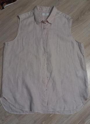Натуральный лен стильная рубашка кофточка блузка