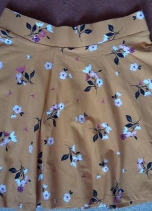 Хлопковая летняя юбка на резинке с принтами