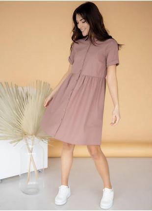 Легкое льняное платье-рубашка