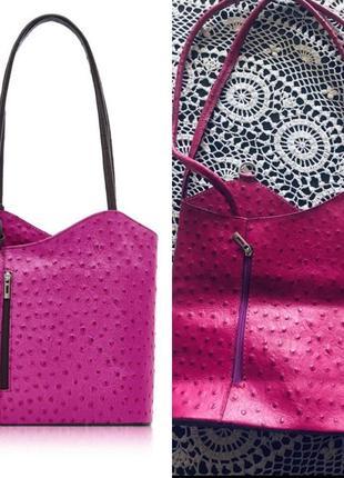 Кожаная сумка рюкзак borse pelle италия