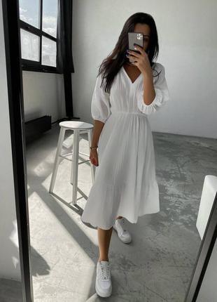 Платье миди сарафан юбка солнце клеш резинка на талии рукав 3/4 волк