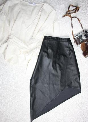 Красивая кожаная юбка асимметрия . асимметричная стильная юбка