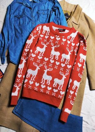 Boohoo свитер с оленями белыми красный новый вязаный оверсайз