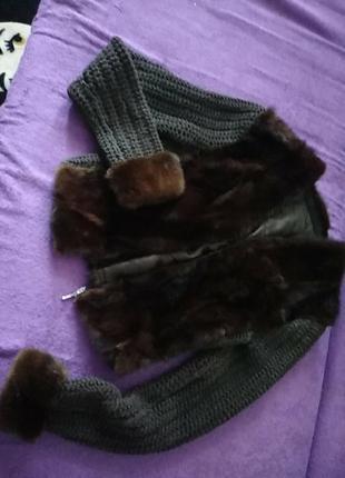 Женская кофточка,вязка+мех(натуральная норка)размер 42-44