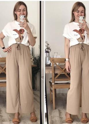 Женские свободные летние брюки, широкие брюки, женские брюки с высокой талией