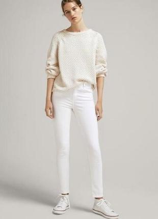 Оригинал белые белоснежные джинсы скинны высокая талия посадка