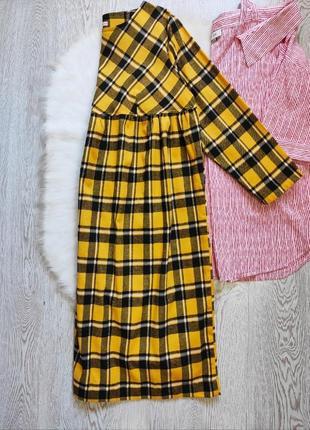 Желтое платье миди длинное в клетку высокая талия обьемное хлопок батал большого размера оверсайз