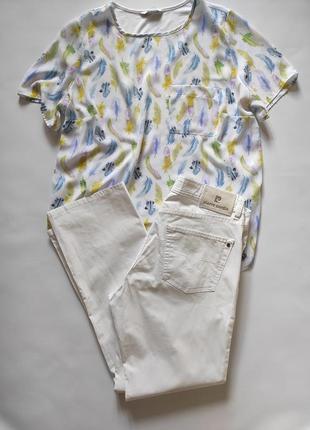 Белые коттоновые прямые брюки pierre cardin
