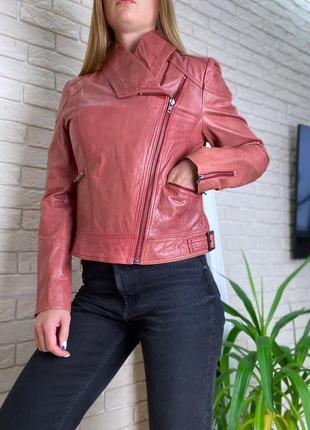Бордовая косуха кожаная кожа натуральная куртка пиджак кожаный