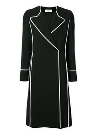 Пальто ,тренч черное с белыми вставками .