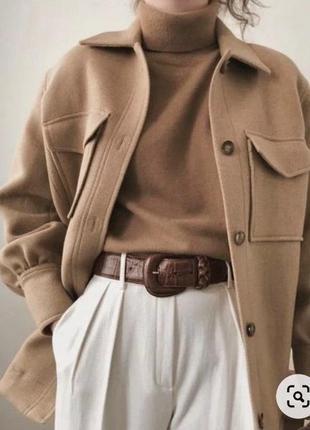 Люкс качество модное трендовое  брендовое шерстяное пальто рубашка оверсайз h&m