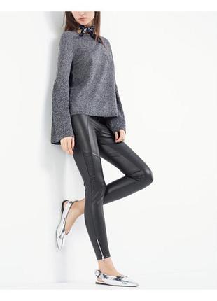 """Новые """"кожаные"""" утепленные штаны с молниями внизу и завышенной талией"""