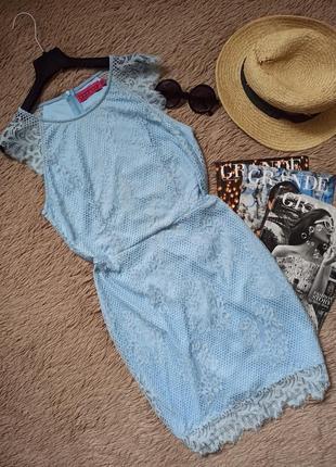 Нежно-голубое кружевное платье по фигуре/плаття/сукня
