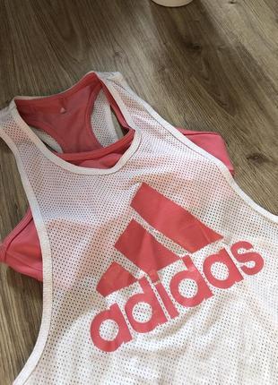 Спортивная майка 2в1 адидас майка + топ adidas для спорта фитнеса