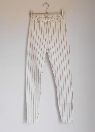 Высокие джинсы  скинни в полоску  bershka
