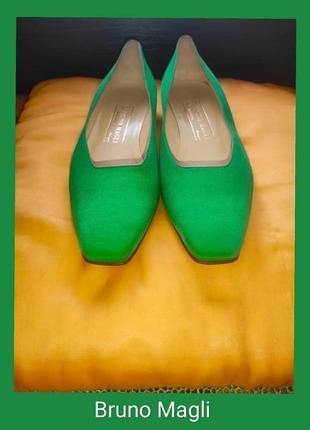 Брендовые туфли ярко зелёного цвета bruno magli