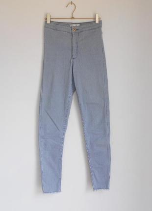 Высокие джинсы в полоску zara