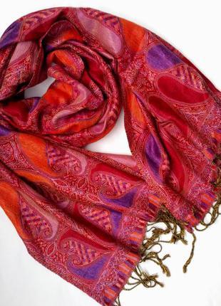Шикарный теплый палантин-шарф с восточным принтом