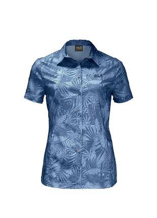 Женская трекинговая рубашка jack wolfskin w sonora jungle shirt ocean wave all over - xl