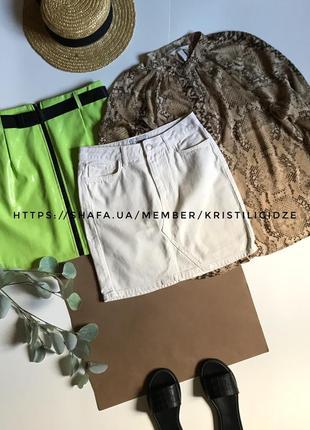 Молочная джинсовая мини юбка на высокой талии р.s
