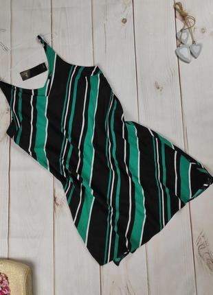 Платье летнее из вискозы в диагональную изумрудную полоску f&f uk 12/40/m