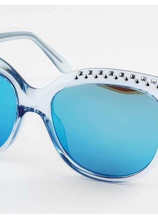 Очки солнцезащитные с шипами синие стёкла