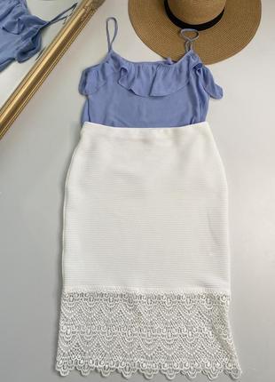 Шикарная юбка-миди с ажурной вставкой 🎁 майка в подарок!!