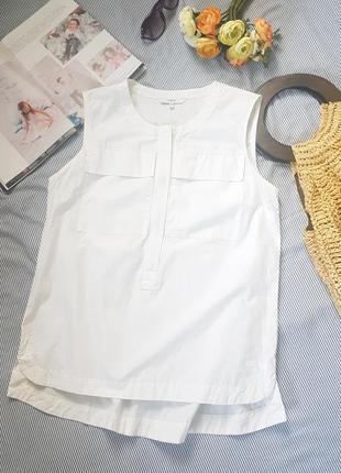 Удлиненная прямая майка туника блуза топ прямой силуэт хлопок 100
