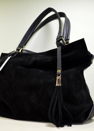 7deab3b63588 Большая черная замшевая сумка через плечо, цена - 850 грн,  8130297 ...
