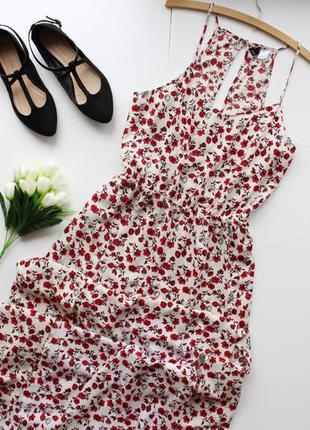 Невероятное платье макси/в пол на тонких бретелях в цветочный принт и разрезами спереди