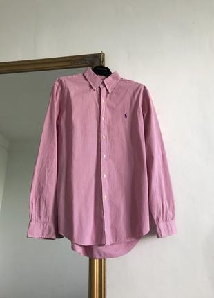 Рубашка розовая в полоску polo ralph lauren оверсайз k00 u11