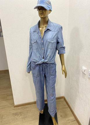 Джинсовый костюм рубашка джинсы палаццо