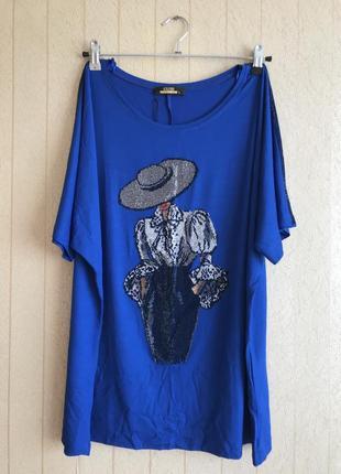 Женская футболка 52-54-56 размера оверсайз