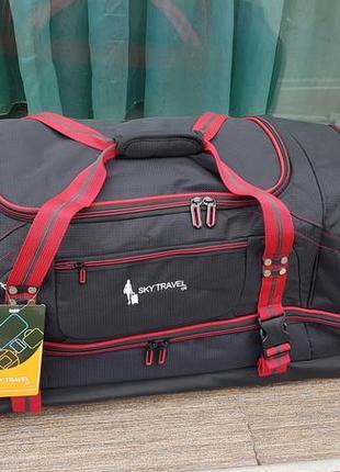 Сумка чемодан на колесах s-034 sky travel большая, черный+красная