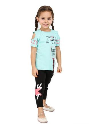 Летний костюм на девочку футболка и капри, турция