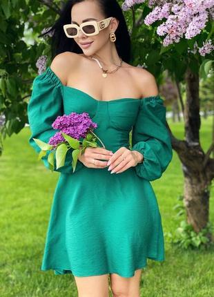 Зелёное летнее платье