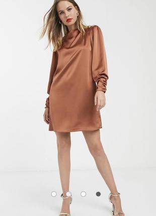 Атласное платье медного цвета river island