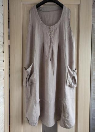 Итальянское льняное платье в стиле бохо свободный крой.