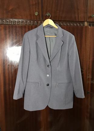Шикарный пиджак ручной работы 40-42 размер стильный костюмный жакет серый