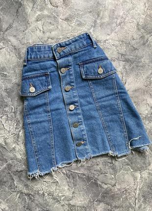 Джинсовая юбка-трапеция zara на пуговицах