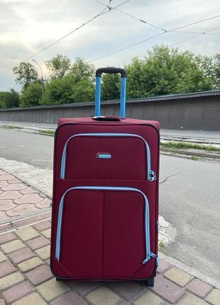 Чемодан,валіза ,текстильный чемодан на 2 колеса,надёжный ,качественный