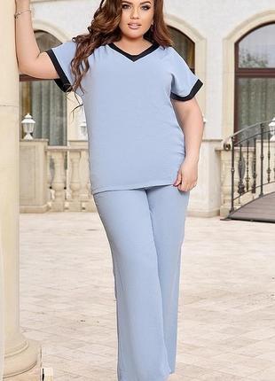 Новый женский стильный костюм большого размера батал полубатал небесный голубой цвет батал полубатал