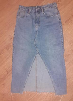 Юбка джинсовая с разрезом zara