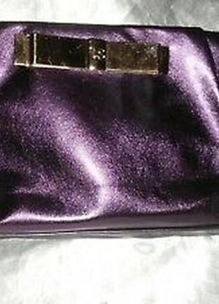 Роскошная сумочка клатч victoria's secret гламурный лиловый кожаный перламутровый виктор