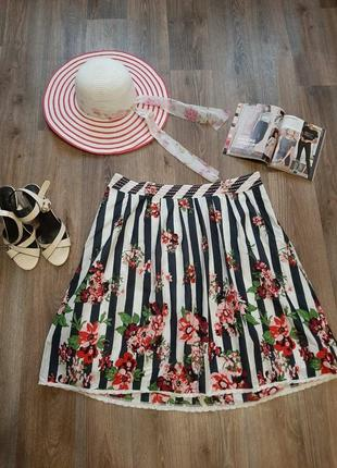 Летняя юбка миди в полоску бренда tu  50-52 размера.