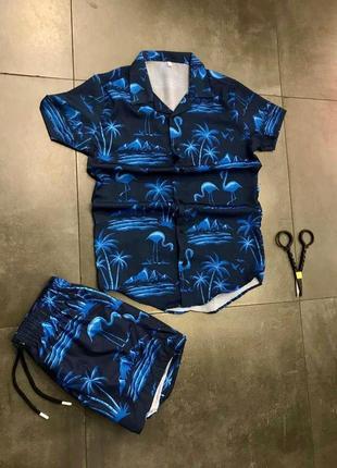 Пляжный костюм ( blue flamingo )