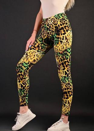 Яркие стильные легинсы летние леопард , кач-во супер) с/м, л/хл