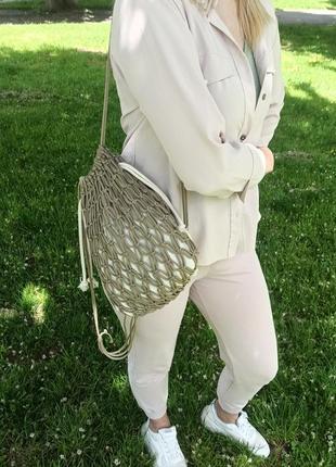 Рюкзак-авоська в технике макраме из шнура на лето
