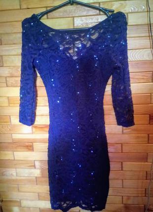 Платье гипюровое с паеточками  new look