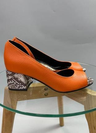 Эксклюзивные туфли оранж натуральная итальянская кожа рептилия